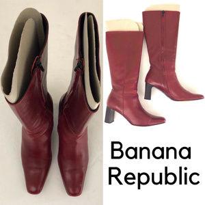 Banana Republic Burgundy Knee High Heeled Boots